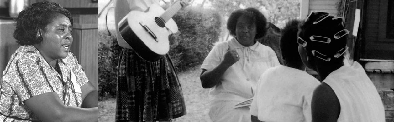 Photo credit: Wallace Roberts. Permission to use granted by Heather Booth. Copywright 2012. CC BY SA. Heather Booth playing guitar for Fannie Lou Hamer during the Freedom Summer Project in Mississippi, 1964. On JWA: jwa.org/media/image-of-heather-booth-and-fannie-lou-hamer