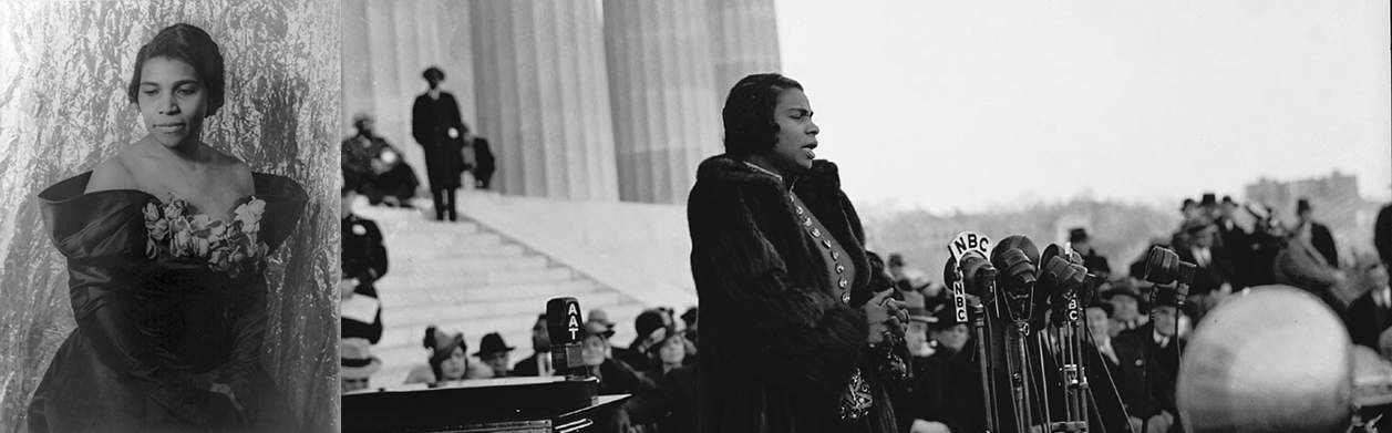 """""""Marian Anderson, singer"""" by US Department of State is licensed with CC BY-NC 2.0. To view a copy of this license, visit https://creativecommons.org/licenses/by-nc/2.0/ """"Marian Anderson Sings at Lincoln Memorial: 1939 # 1"""" by Washington Area Spark is licensed with CC BY-NC 2.0. To view a copy of this license, visit https://creativecommons.org/licenses/by-nc/2.0/"""