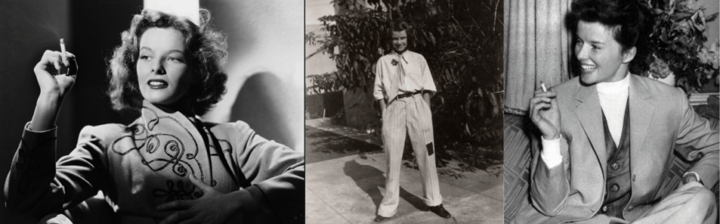 Three pictures of Katharine Hepburn in pants and smoking